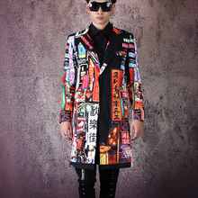 Men Vintage Pattern Print Fashion Slim Fit Long Blazer Jacket Male Hip Hop Dance