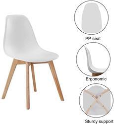 Juego de 4 sillas de comedor de estilo medieval nórdico, pies de madera maciza, estudio de salón comedor (Blanco/Negro/gris)