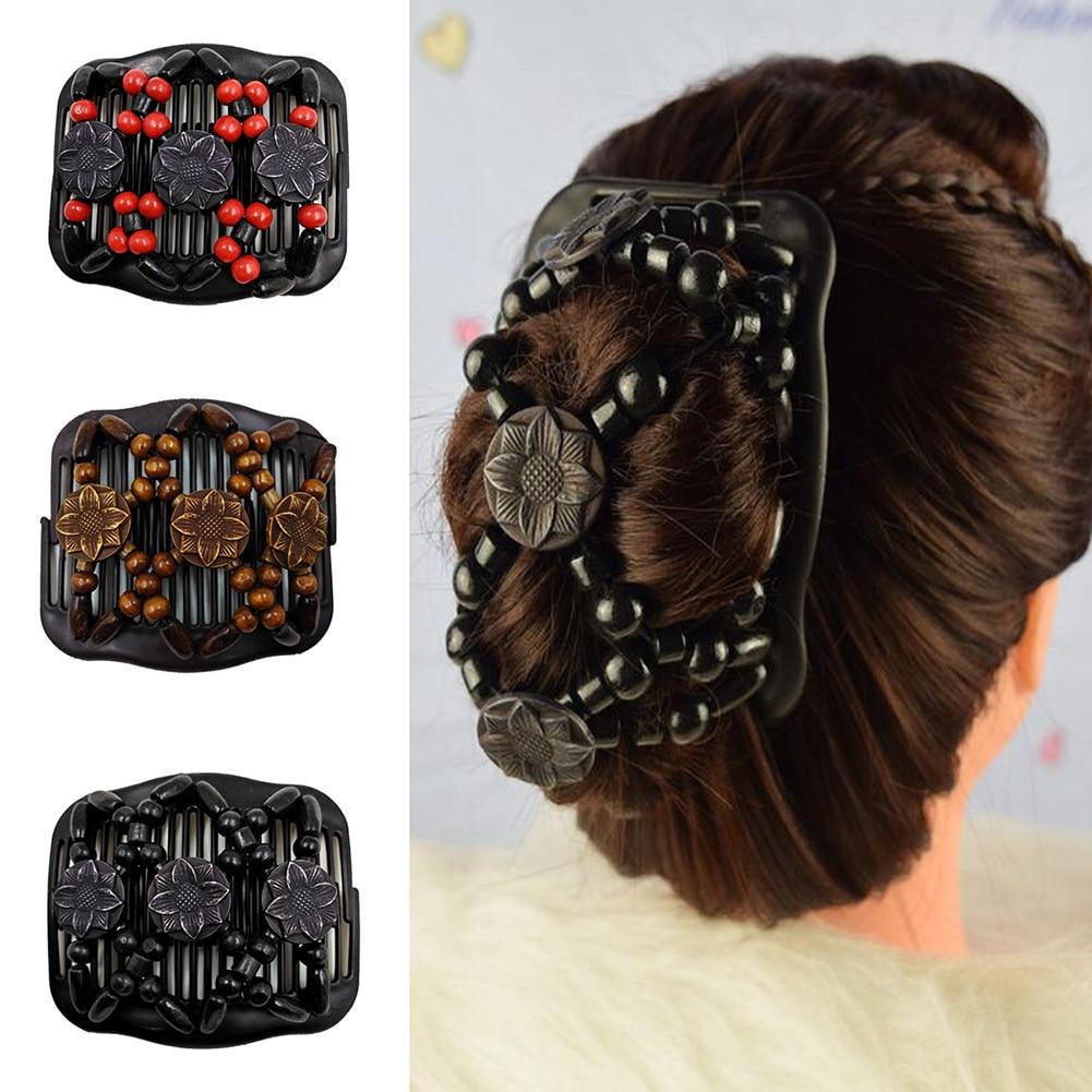 Kadın Retro inci boncuk elastik saç Combs çift slayt sihirli topuz DIY saç yapma aracı Metal yenilik saç tokası aksesuarları