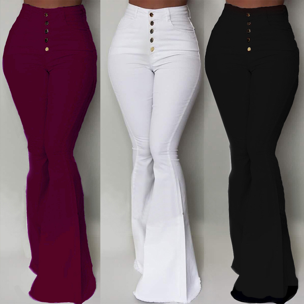 Solid Color High Waist Hip Bell bottom Pants Fashion Single Breasted Simple Autumn and Winter Hot Women's All match Trousers|Pants & Capris| - AliExpress