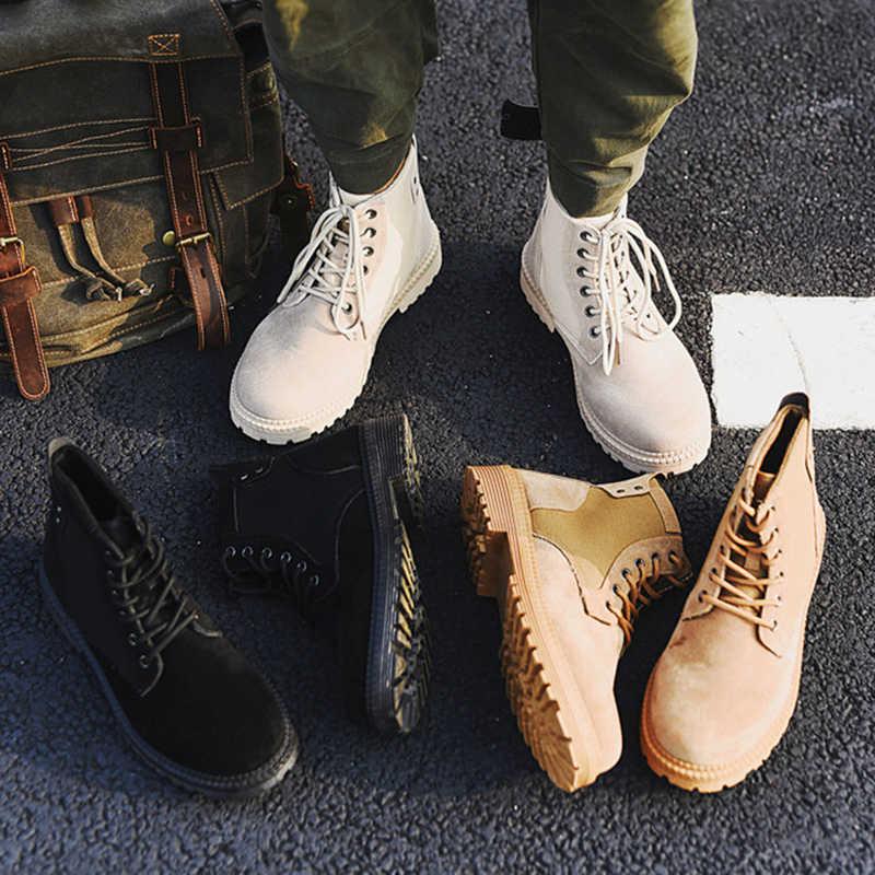 Puimentiua 2019 รองเท้าผู้ชายด้ายเย็บรองเท้าเชลซีชายผ้าฝ้ายรองเท้า Brogue เชลซีผู้ชายรองเท้าบูทรองเท้าข้อเท้ารองเท้าบูท