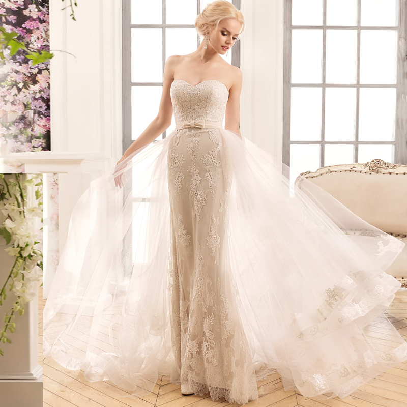 Charming Sweetheart Sleeveless Mermaid Wedding Dress With Removable Skirt Champagne Lace Bridal Gown With Detachable Train