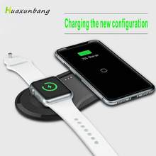 2 in1 Wireless Charger for iPhone X XR XS Max 8 for Apple Watch 4 3 2 1 Charging Qi Charger for Samsung S10 S9 S8 Huawei P30 P20(China)