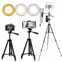 Anel de luz de led para selfie, suporte de celular para selfie com tripé, iluminação para fotografia, selfie, vídeo para celular
