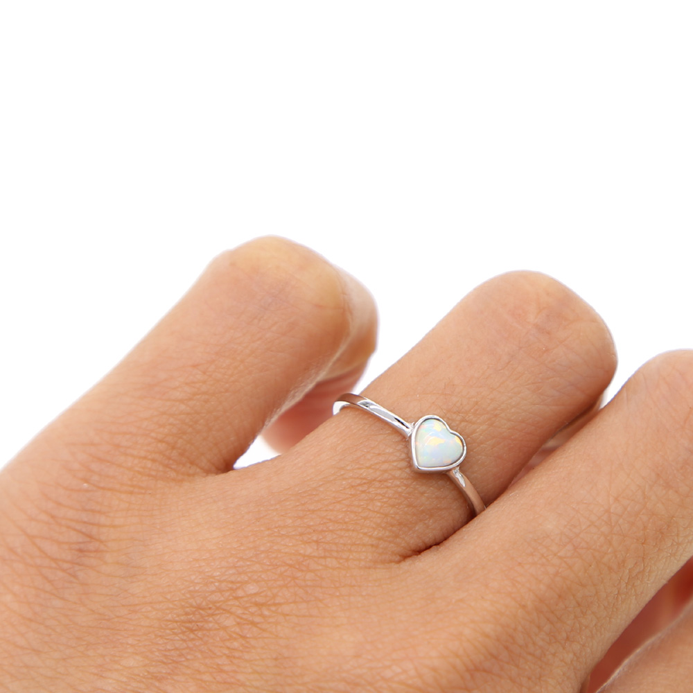 Opal sterling silver simple ring