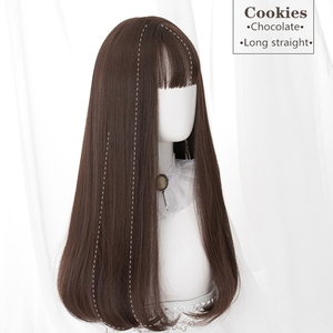 Image 4 - Uwowo Long Straight Black Brown Chololate Wig Cosplay Lolita Wigs Heat Resistant Synthetic Hair Anime Party wigs