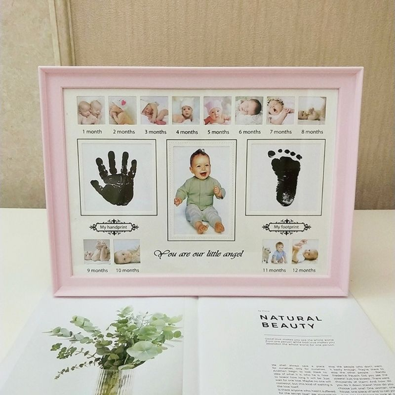 Baby Handprint Footprint Photo Frame With Stamp Ink Newborn Decor Gift Kids Imprint Hand Inkpad Souvenirs 19QF