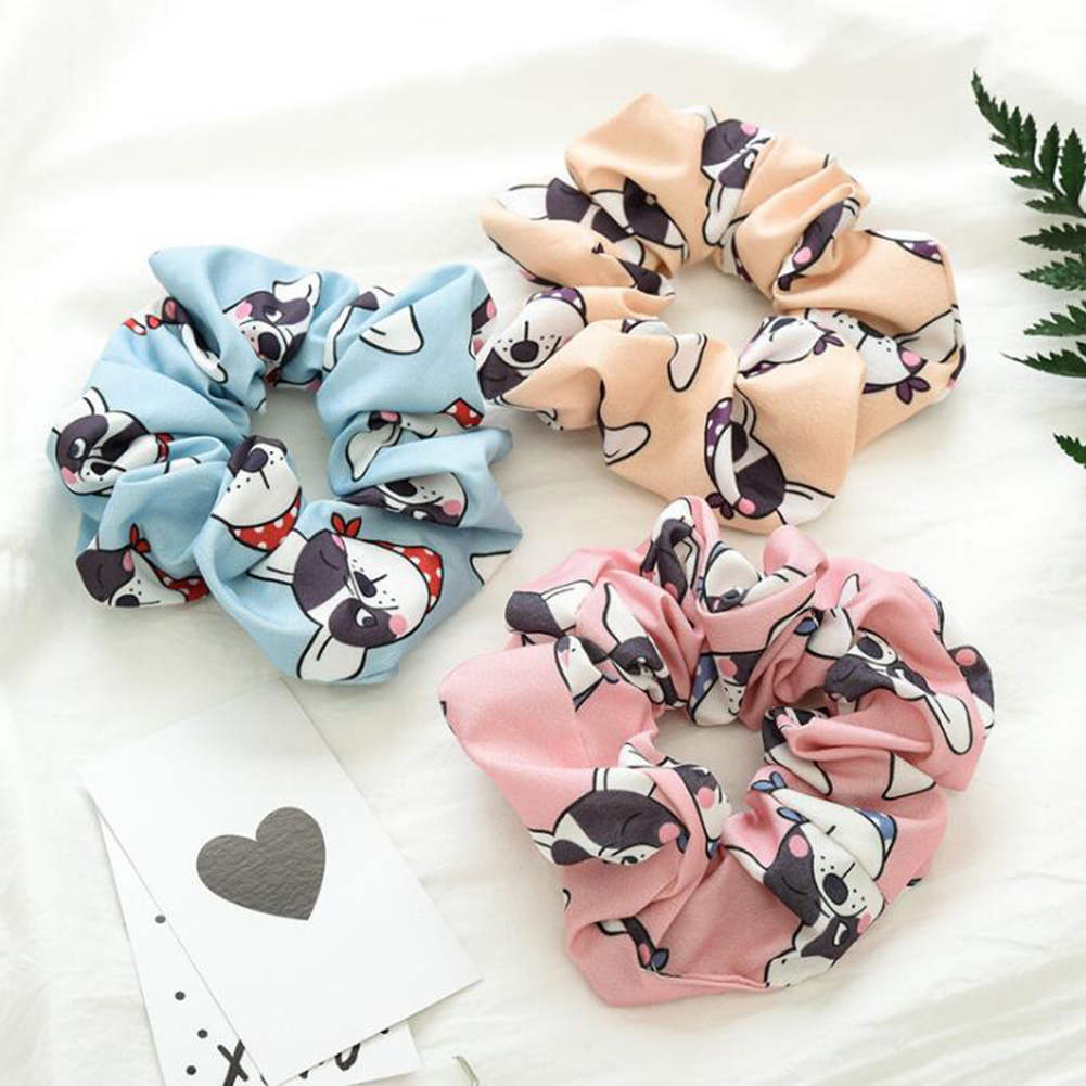 New Cartoon Dog Scrunchies Women Hair Ties Elastic Hair Bands Girls Headwear Cute Ponytail Holder Scrunchy Print Gumki Do Wlosow