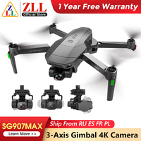 ZLL SG907MAX Mit 3-Achsen Gimbal Drone SG907PRO GPS Eders 5G WIFI ESC 4K Kamera Drone Profesional RC Quadcopter Max Abstand 1200m