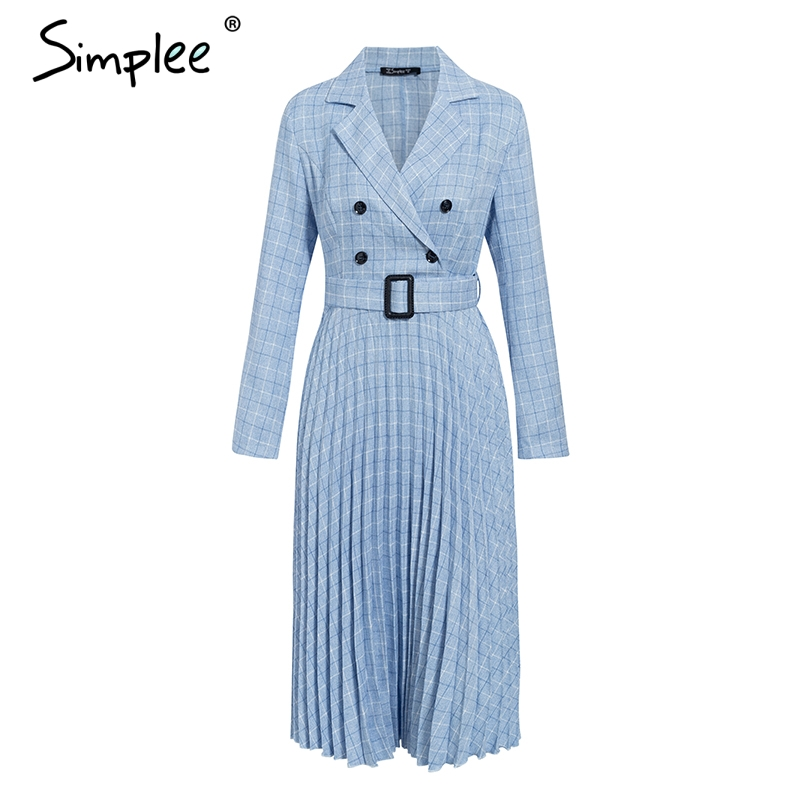 Simplee Vintage pleated belt plaid dress women Elegant office ladies blazer dresses Long sleeve female autumn midi party dress 5