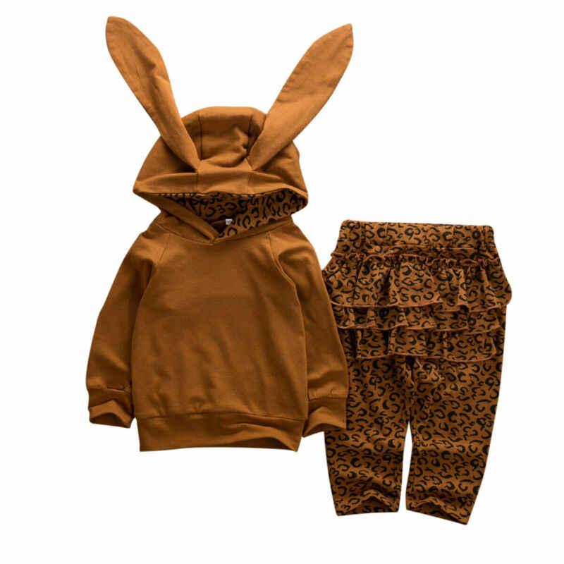 طفل رضيع فتاة ليوبارد الملابس أرنب الأذن هوديي السراويل وتتسابق مجموعات رياضية
