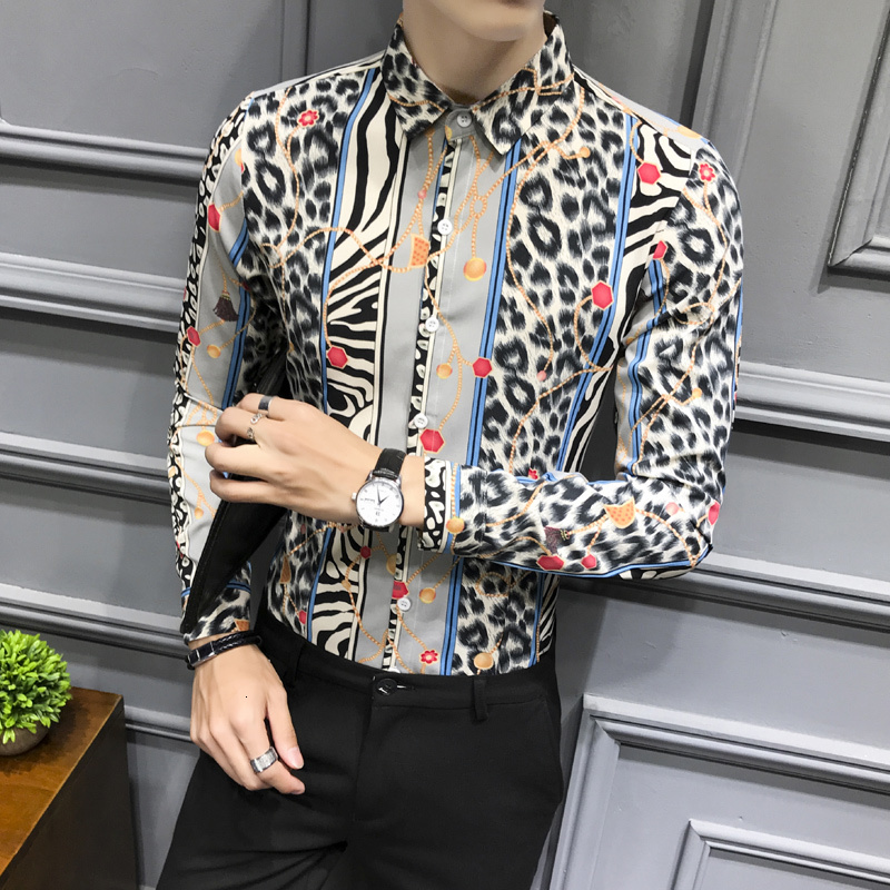 Leopard Printed Shirts Fancy Club Party Mens Shirts Casual Slim Fit Long Sleeve Elegant Mens Clothing Chemise Homme
