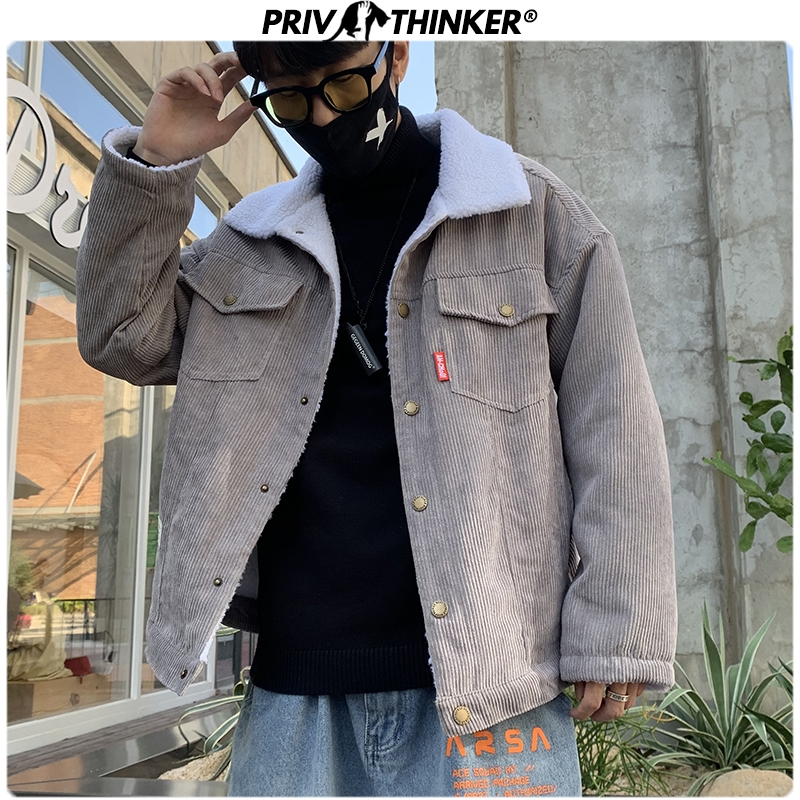 Privathinker Men 2020 Autumn Winter Thicken Warm Corduroy Jackets Men's Outwear Hip Hop Coat Male Teen Casual Jacket Colorful