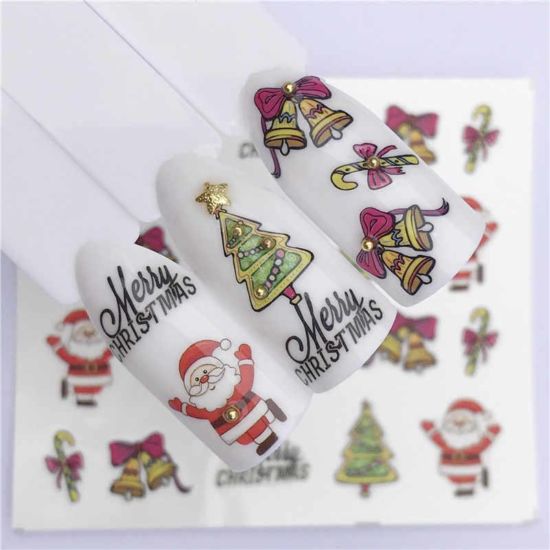1 stücke Winter Design Weihnachten Nail Sticker Geschenk Bunte Voll Tipps Wraps für Wasser Decals Frauen Nail art Decor