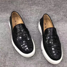 Authentic Crocodile Skin White Foaming Sole Mens Moccasins Shoes Genuine Exotic Alligator Leather Male Slip on Flats Loafers