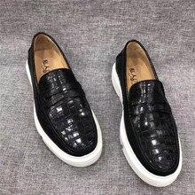 Otantik timsah derisi beyaz köpük taban erkek mokasen ayakkabı hakiki egzotik timsah deri erkek Slip on Flats loaferlar