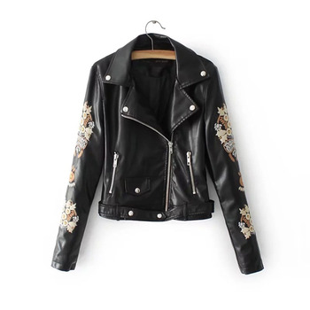 Sisjuly 2020 Flower Embroidery Faux Leather Jacket Women Gothic Coat Black Motorcycle PU Womens Jackets Coats Autumn Top Female flower embroidery front smock top