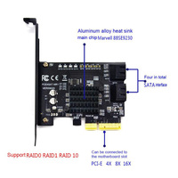 Drive Extended Expansion Card Hard Disk To PCI E 4 Port 6G Support for Raid Adapter 3.0 Riser Card 88SE9230 for Raid Card