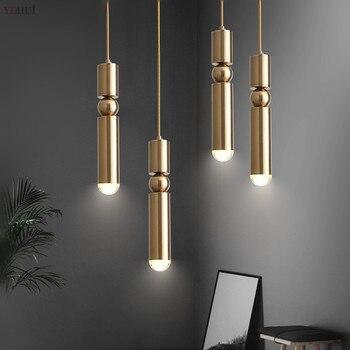 Modern Light LED E14 Crystal Chandelier Lighting Cylindrical Copper Pendant Lamps Bedroom Living Room Dining Office Hanging Lamp