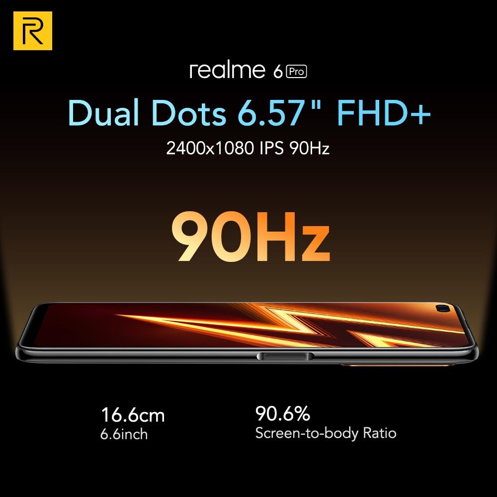 realme 6 Pro 6pro 8GB RAM 128GB ROM Global Version Mobile Phone Snapdragon 720G 30W Flash Charge 64MP Camera EU Plug NFCellphone