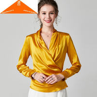 Ladies 100% Elegant Real Silk Blusas Fashion Women's Blouse and Tops Korean Vinatge Women Clothes 2020 Office Shirt 94072