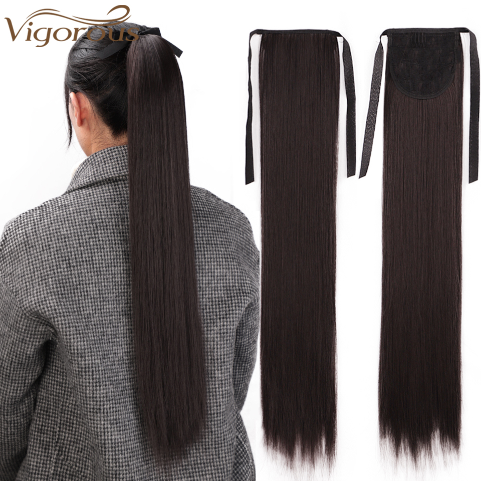 Vigorous Black Long Straight Synthetic Clip In Drawstring Ponytail Hairpieces For Women Hair Extension Heat Resistant Fiber