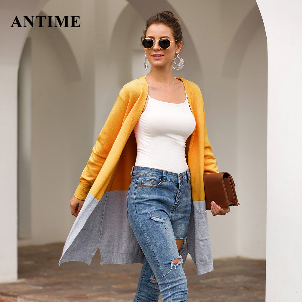 Antime Women Patchwork Cardigan Casual Long Sleeve Pocket Outerwear Loose Autumn Winter Knitted Sweater Coat