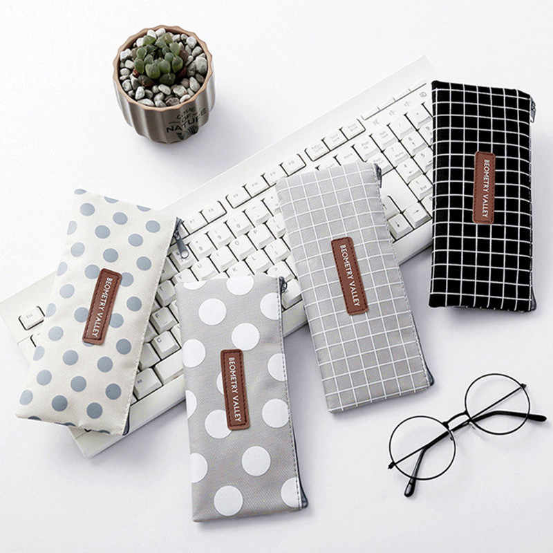 Korean Simple Fresh Plaid Dot Canvas pen bag Cute Student large Capacity Pencil bag Pouch Office Students Kids Supplies