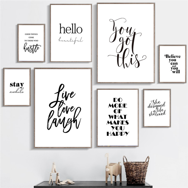 Black White Wall Poster Life Quotes Wall Art Canvas Painting Live Love Laugh Inspiring Prints For Living Room Modern Home Decor Painting Calligraphy Aliexpress