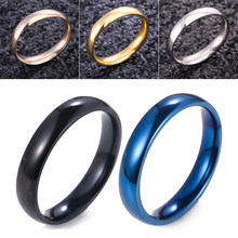 4mm Silver/Rose Gold/Gold/Black/Blue Stainless Steel Ring For Women Men Minimalist Round Wedding Band Ring Engagement Gift(China)