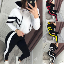 Tracksuit Running-Sets Sports-Set Women Sweatershirt for 2pcs Outfits Striped Fashion
