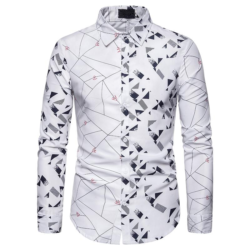 Long Sleeve Men's Shirt Graphic Design Swallow Pattern Casual Menswear Shirt Dress Slim Fit Blouse Mens Clothing