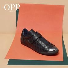 OPP Hook&Loop Flats Casual Shoes Men Punk Hip Hop Loafers For Metal Rivet Cow Leather Footwear