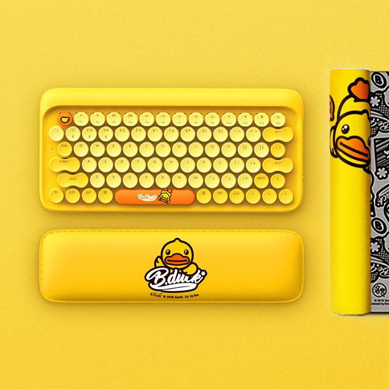 Cute Little Yellow Duck Dot Circle Bluetooth Wireless Retro Mechanical Keyboard For Tablet Apple MAC, EH112S  79 (key)