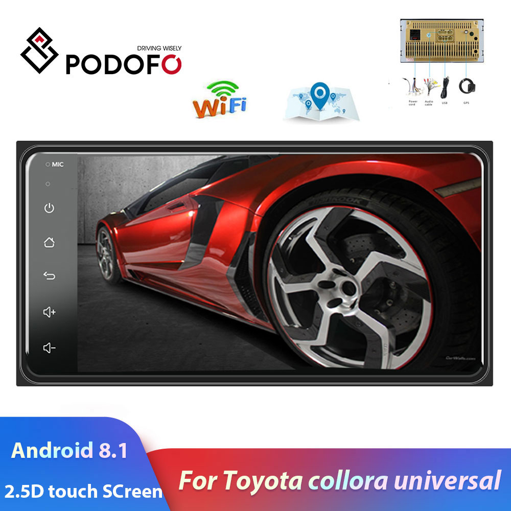 Podofo 2 din Android 8.1 Radio GPS Car Multimedia Player 2Din Universal for Toyota VIOS CROWN CAMRY HIACE PREVIA COROLLA RAV4 image