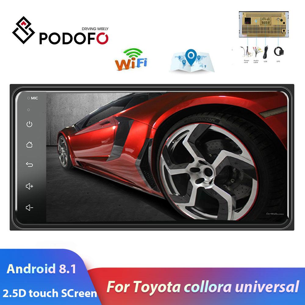 Podofo 2 din android 8.1 universal carro multimídia player estéreo de rádio do carro para toyota vios coroa camry hiace previa corolla rav4
