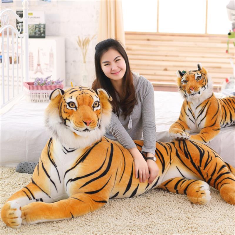 30-120 Cm Lifelike Tiger Leopard Plush Toys Soft Stuffed Animals White Tiger Jaguar Doll Children Kids Birthday Gifts