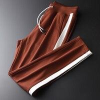 100% Cotton Sport Mens Luxury Elastic Waist Contrast Color Stripe Drawstring Man Pants Plus Size 4xl Slim Male Pant
