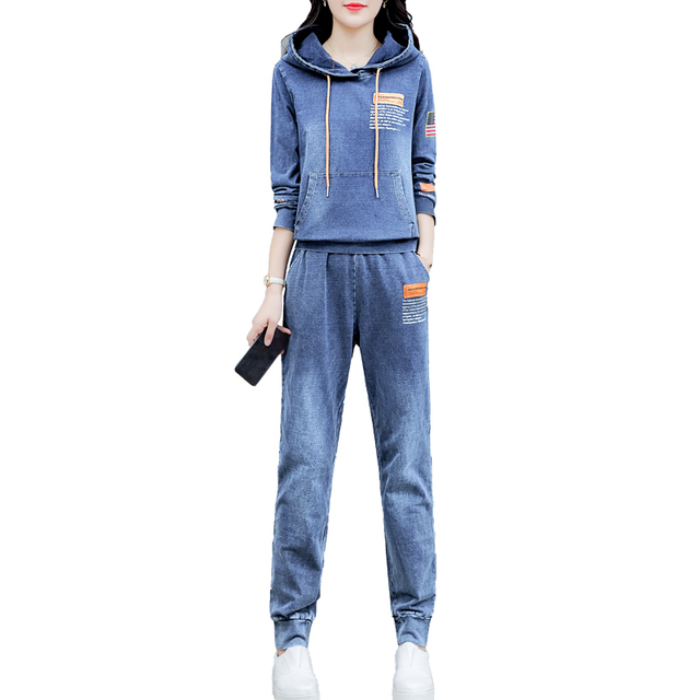 Co-ord Set Denim Two Piece Set Women Hoodies Pant Suits and Top Winter Autumn Outfit Clothing Matching Jeans 2 Pc Sets