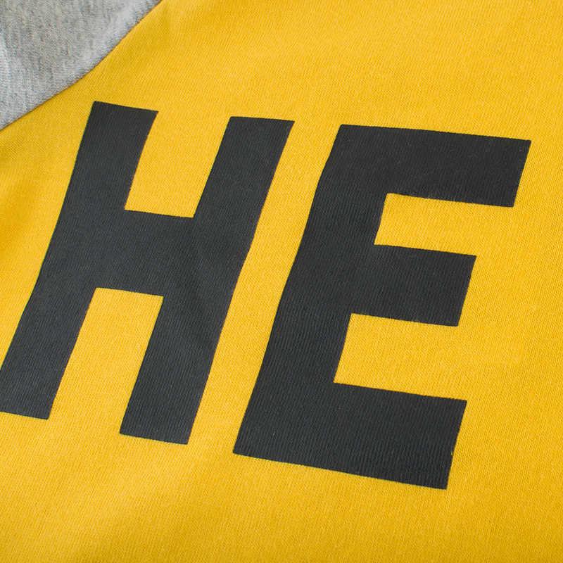 الفتيان طويلة الأكمام بلايز 2019 الخريف الأطفال خطابات س الرقبة الأصفر السترة تي شيرت غير رسمي الصبي الشارع الشهير القطن قميص