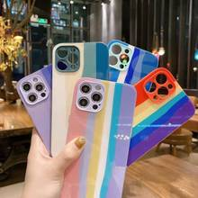Rainbow กระจกนิรภัยสำหรับ iPhone 12 11 Pro Max Mini XS Max X XR 8 7 6 plus SE2020ซิลิโคนกรณีกรอบ