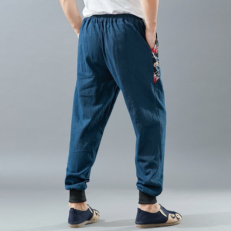 Spring Thin 100% Linen Men Casual Pants 2020 New Printing Drawstring Full Length Solid Loose Joggers Trousers Male Streetwear