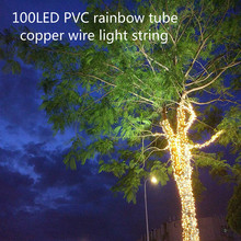 Outdoor Waterproof LED Copper Wire Light String Battery Box Remote Control PVC Rainbow Tube Holiday Party Christmas Decoration