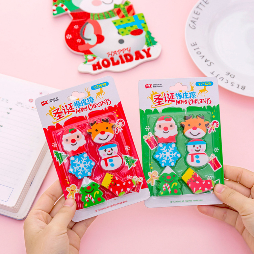 6pcs/lot Kawaii Snowflake Christmas Eraser Cartoon Eraser Funny Students' Gift Prize Kids's Puzzle Toy Office School Stationery