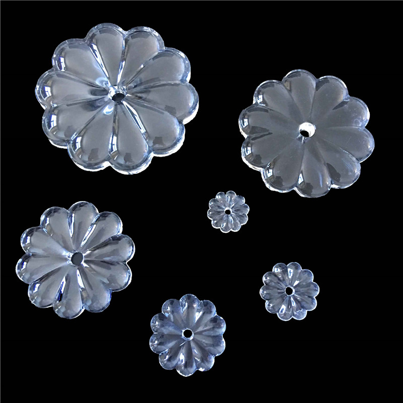 All Sizes Clear Crystal Rosettle Beads Chrysanthemum Shape Glass Chandelier Parts For Curtain DIY Decoration