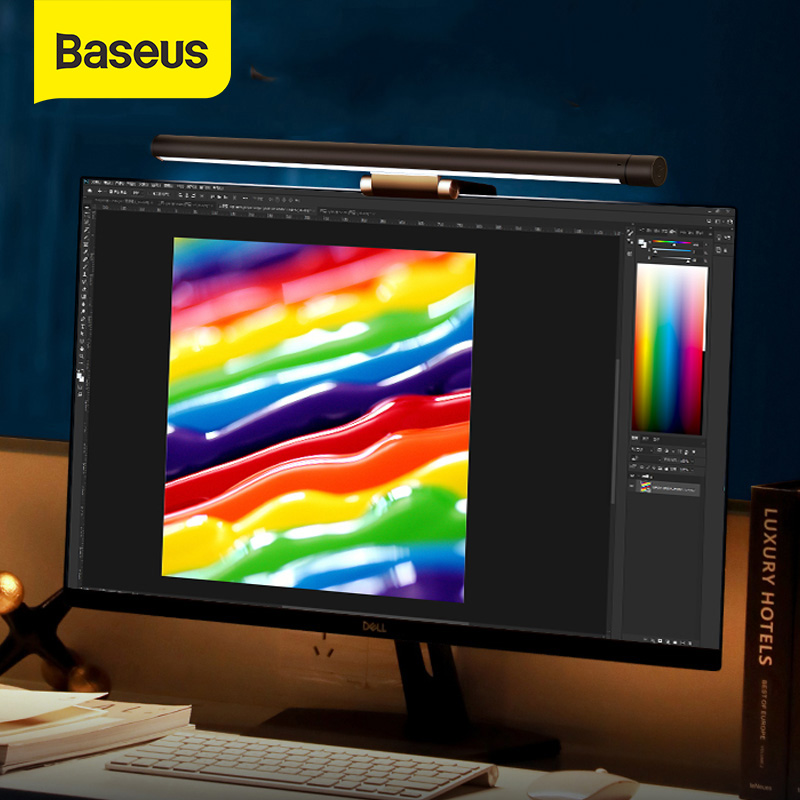 Baseus USB LED Desk Lamp 3 Color Dimmable Chargeable Reading Eye-protect Table Lamp Monitor Laptop Night Light Anti Blue Light