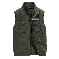ICPANS Cotton Denim Mens Vests with Many Pockets Casual Military Multi pocket Army Khaki Waistcoat Sleeveless Jacket Male 2019