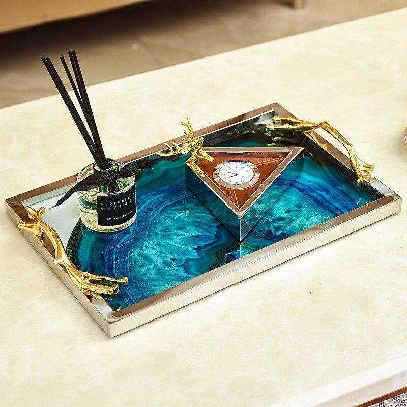 Plateau de rangement de Table de coiffeuse | Ornement, plateau de rangement, motif de pierre d'agate bleue, plateau rectangulaire, décoration de la maison de luxe, Table basse, plateau de rangement - 3