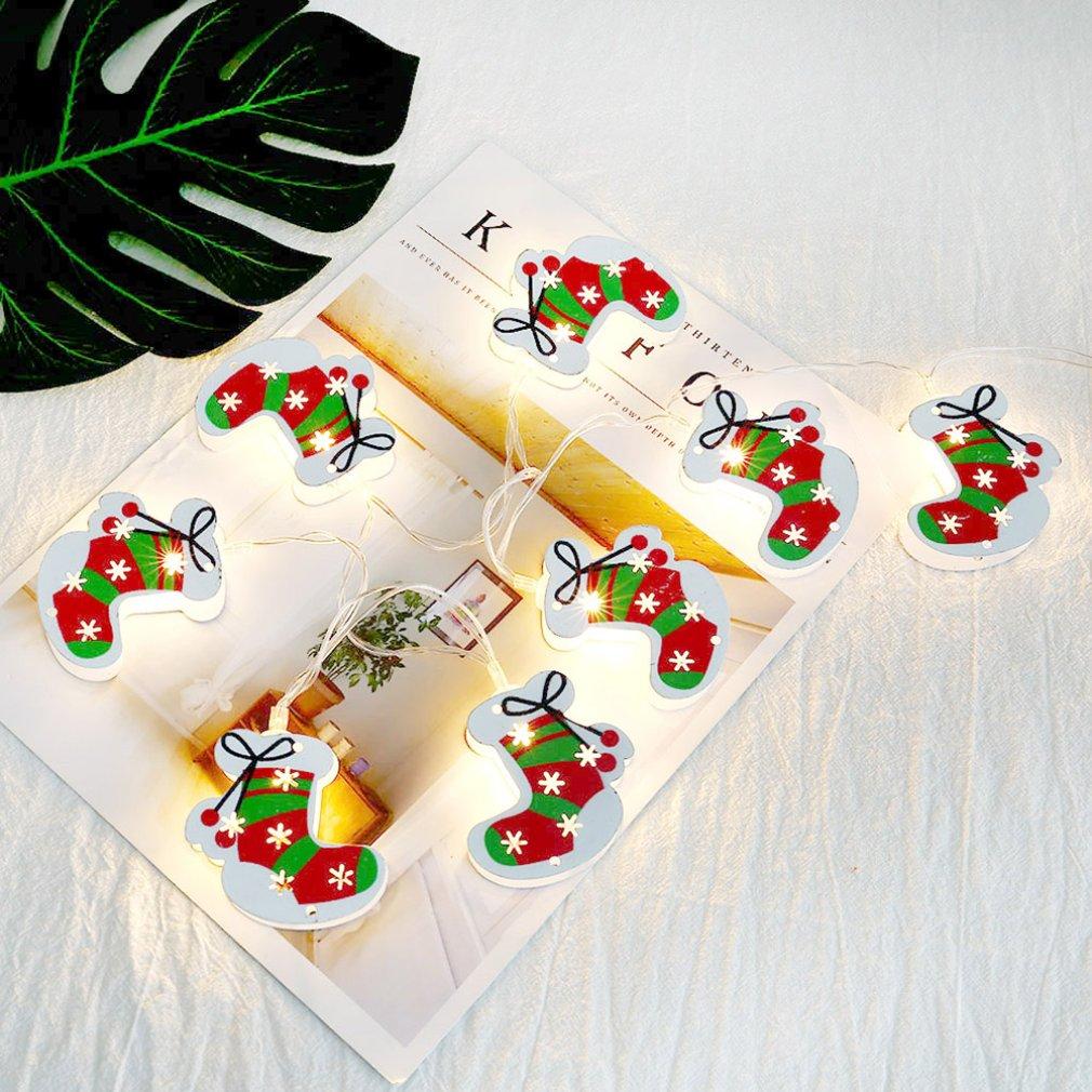 Chirstmas Socks Plastic Led Light Alpaca Iron Hollow Metal Double-sided Battery Box Holiday Decorative Light String