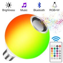 Blub Smart E27 RGB белый Bluetooth динамик светодиодный светильник с лампочкой музыка воспроизведение с регулируемой яркостью беспроводной светодиодный светильник с 24 клавишами дистанционного управления